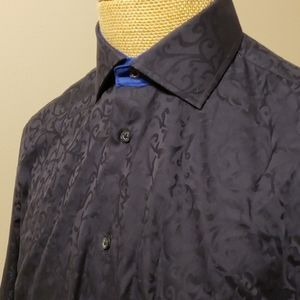 Robert Graham french cuff black pattern blue cuff